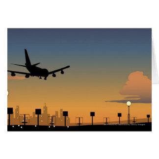 Silhouette av ett flygplan i flyg hälsningskort