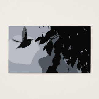 Silhouette av hummingbirden & den Fushia Visitkort