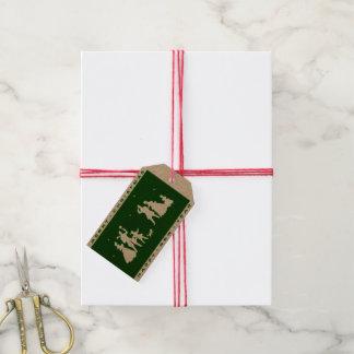 Silhouette för grönt för vintagegod julhantverk presentetikett