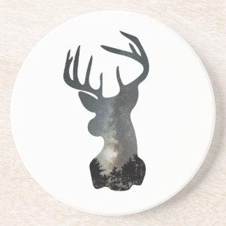 Silhouette för hjort för natthimmel underlägg