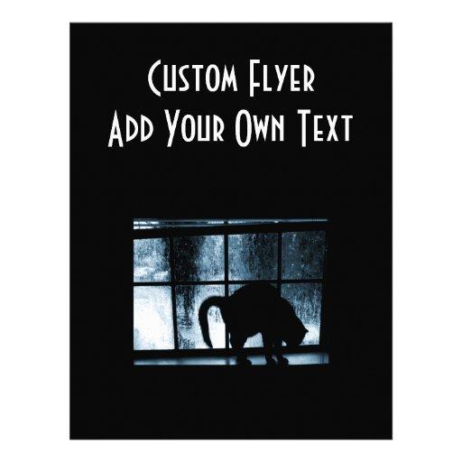 Silhouette för Oktober duschkatt på blått för föns Custom Flyer