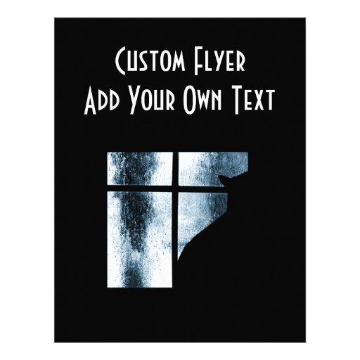 Silhouette för Oktober duschkatt på fönsterblått Full Färg Flygblad