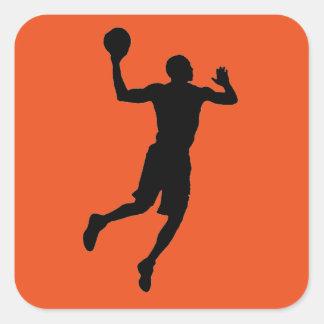 Silhouette för spelare för basket för svart för fyrkantigt klistermärke