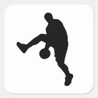Silhouette för spelare för popkonstbasket fyrkantigt klistermärke