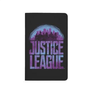 Silhouette för stad för liga för rättvisa för anteckningsbok