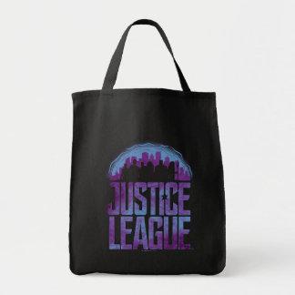 Silhouette för stad för liga för rättvisa för tygkasse
