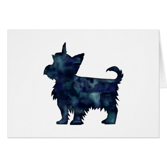 Silhouette för vattenfärg för Yorkie Terriersvart Hälsningskort