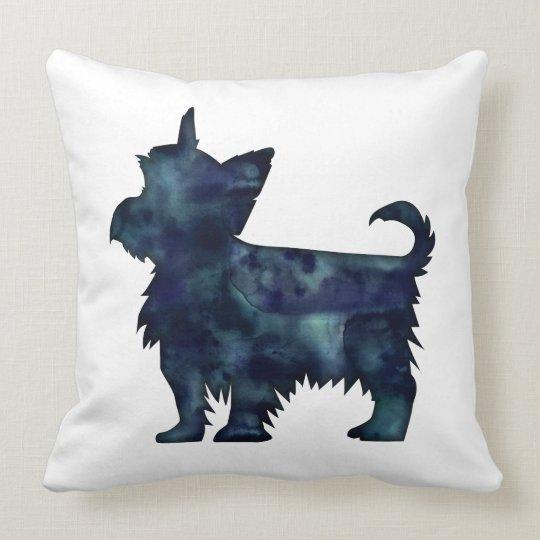 Silhouette för vattenfärg för Yorkie Terriersvart Kudde