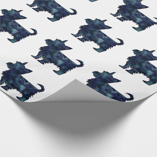 Silhouette för vattenfärg för Yorkie Terriersvart Presentpapper