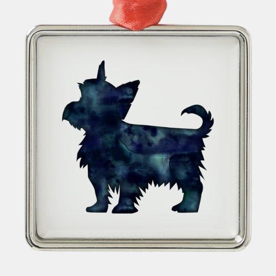 Silhouette för vattenfärg för Yorkie Terriersvart Silverfärgad Fyrkantigt Julgransprydnad