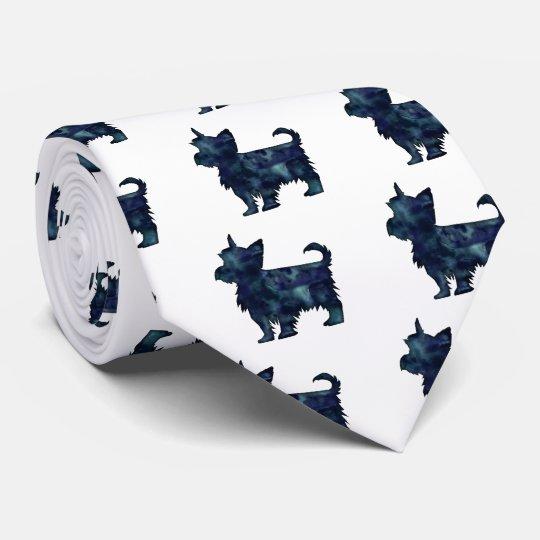 Silhouette för vattenfärg för Yorkie Terriersvart Slips