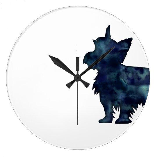 Silhouette för vattenfärg för Yorkie Terriersvart Stor Klocka