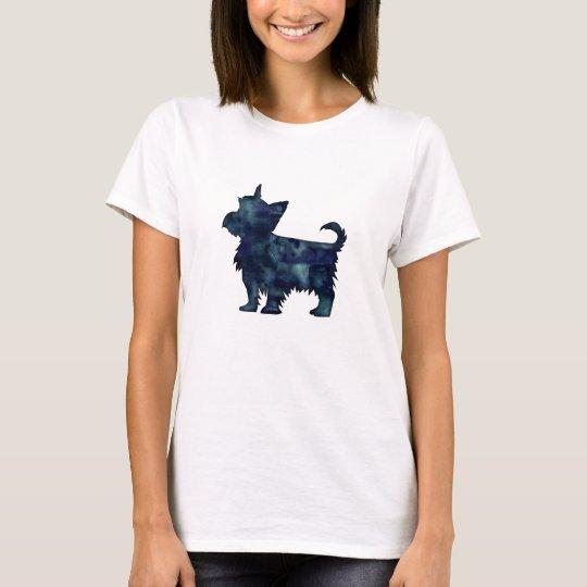 Silhouette för vattenfärg för Yorkie Terriersvart Tee Shirt