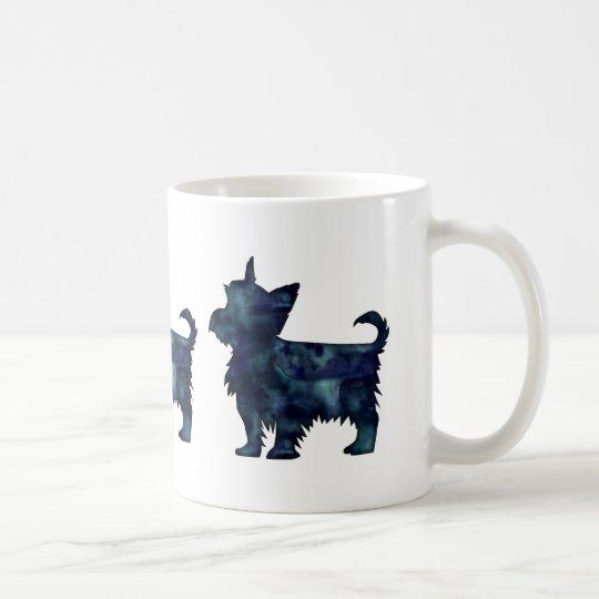 Silhouette för vattenfärg för Yorkie Terriersvart Vit Mugg