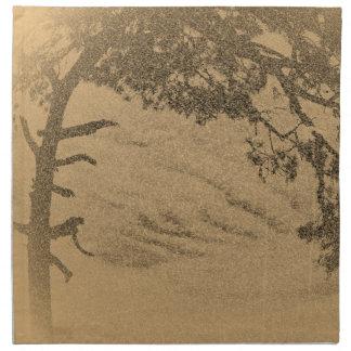 Silhouette för vintagegrästräd, soluppgång tygservett
