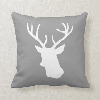 Silhouette för vithjorthuvud - grått dekorativ kudde