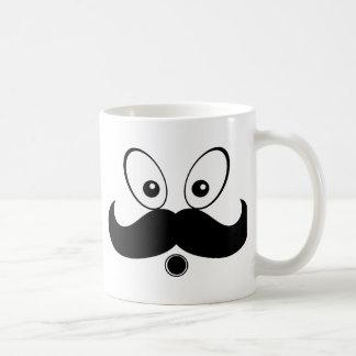 Silhouette Mustach Fuuny Vit Mugg