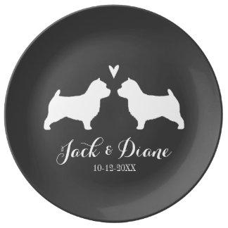 Silhouettes för Norwich Terrier med hjärta och Porslinstallrik