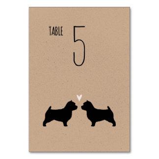 Silhouettes för Norwich Terrier som gifta sig Bordsnummer