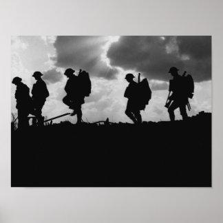 Silhouettes för soldat WW1 - strid av Broodseinde Poster