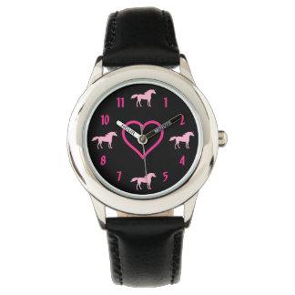 SilhouetteUnicorns och rosa och svart flickor för Armbandsur