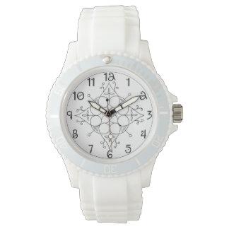 Silikonklockan med vit fäster och bläddrar armbandsur