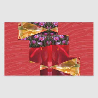 SILKESLENT rött tyg blommar LOWPRICE Rektangulärt Klistermärke
