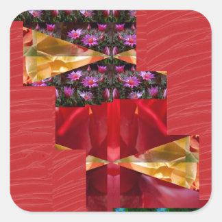 SILKESLENT rött tyg blommar LOWPRICE Fyrkantigt Klistermärke