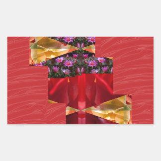 SILKESLENT rött tyg blommar LOWPRICE n-diagramKONS Rektangelformat Klistermärke
