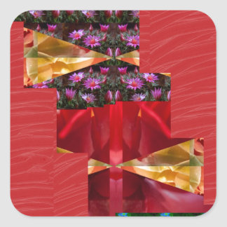 SILKESLENT rött tyg blommar LOWPRICE n-diagramKONS Fyrkantiga Klistermärken