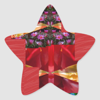 SILKESLENT rött tyg blommar LOWPRICE n-diagramKONS Stjärnformat Klistermärke
