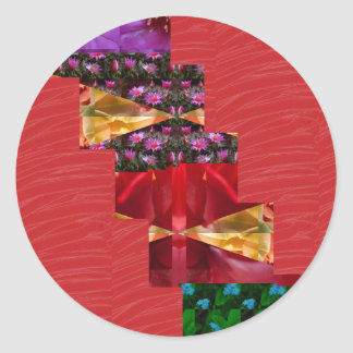 SILKESLENT rött tyg blommar LOWPRICE Runt Klistermärke