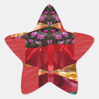 SILKESLENT rött tyg blommar LOWPRICE Stjärnformat Klistermärke