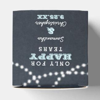 Silkespappret för bröllop för svart tavlaljusAqua Presentaskar