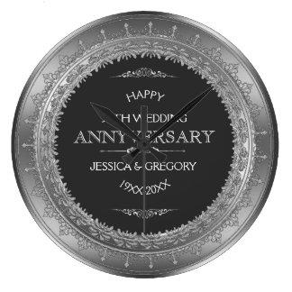 Silver & 25th bröllopsdag för svart stor klocka