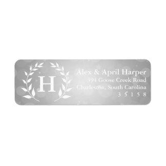 Silver Bokeh och lagrarMonogram Returadress Etikett