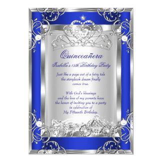 Silver för 15th party för Princess Quinceanera 12,7 X 17,8 Cm Inbjudningskort