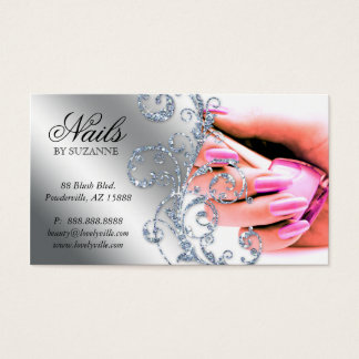 Silver för 311 för nagelsalongvisitkort rosor för visitkort