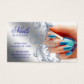 Silver för 455 för nagelsalongvisitkort blått för visitkort