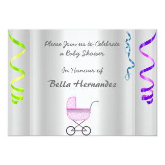 Silver för baby showermeddelandeparty 12,7 x 17,8 cm inbjudningskort