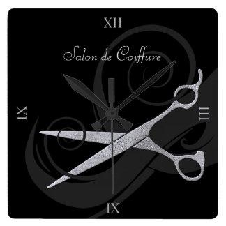 Silver för elegantsvartkrullning Scissors Fyrkantig Klocka
