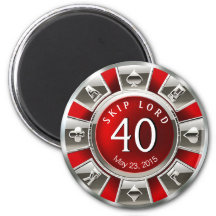 Silver för födelsedag | för Vegas kasinochip 40th Magnet Rund 5.7 Cm