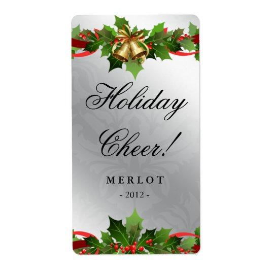Silver för järneken för julvinetiketten sätta en fraktsedel