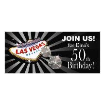 Silver för Las Vegas Starburst 50th födelsedagsvar Unika Inbjudningar