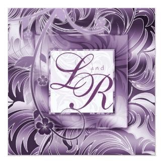 Silver för lilor för elegant bröllopinbjudan blom- fyrkantigt 13,3 cm inbjudningskort