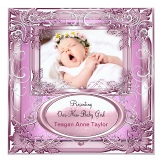 Silver för rosor för nyfödd bebisflickameddelande fyrkantigt 13,3 cm inbjudningskort