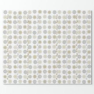 Silver/guld- snöflingor - jul som slår in papper presentpapper
