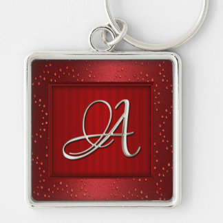 Silver initiala Keychain Fyrkantig Silverfärgad Nyckelring