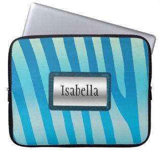 Silver och blåttzebra ränderlaptop sleeve laptopskydd