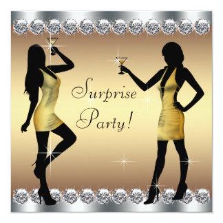 Silver- och guldkvinna födelsedagsfest för fyrkantigt 13,3 cm inbjudningskort